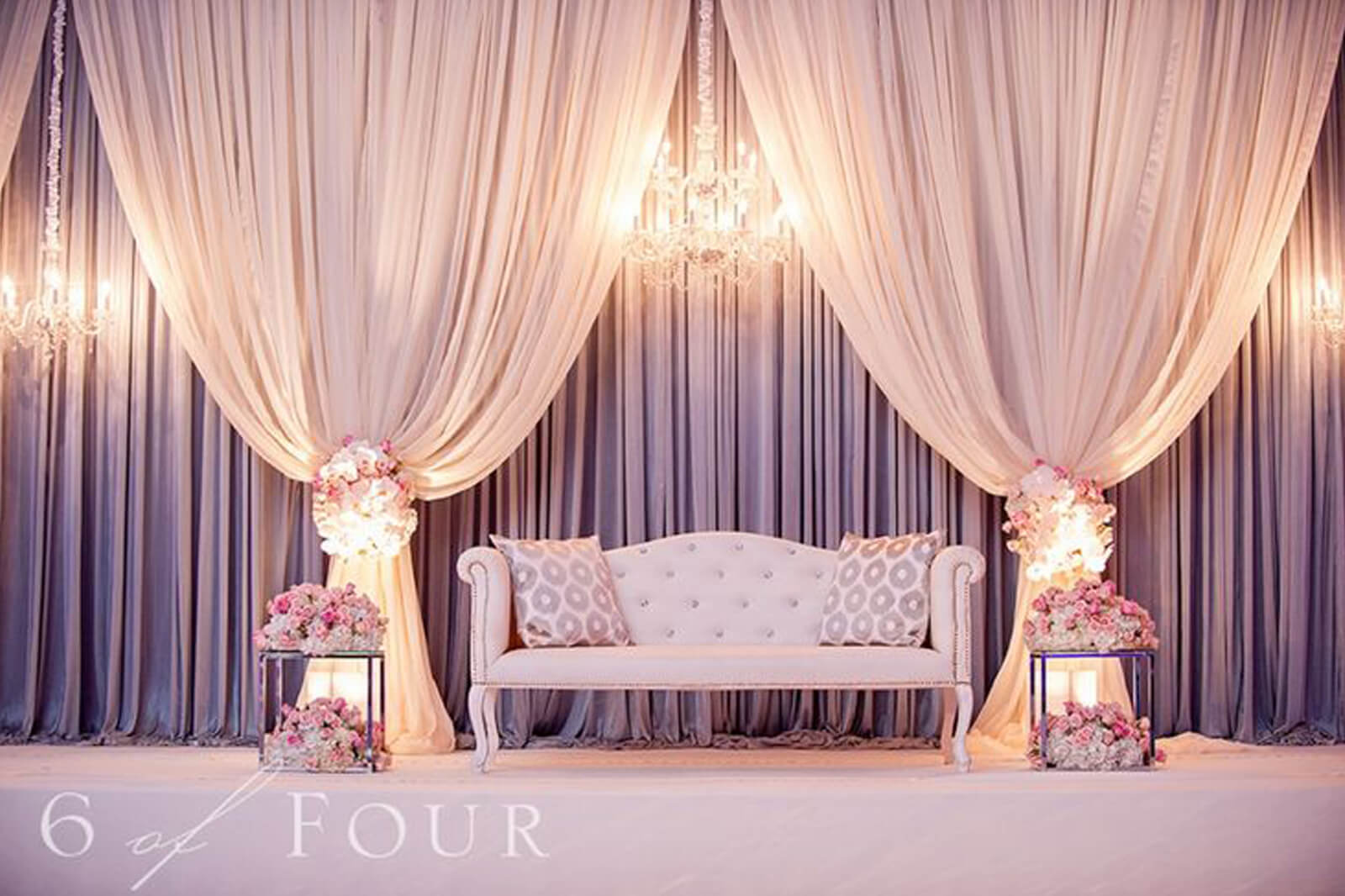 Wedding stage decoration with curtains christian wedding for Background curtain decoration