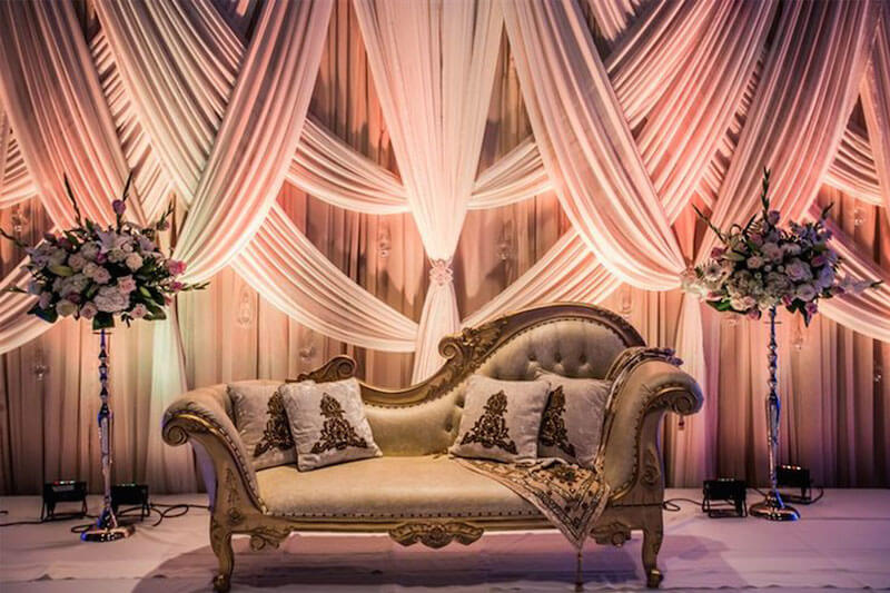 10 trending color schemes you need to consider for your for Background decoration for indian wedding