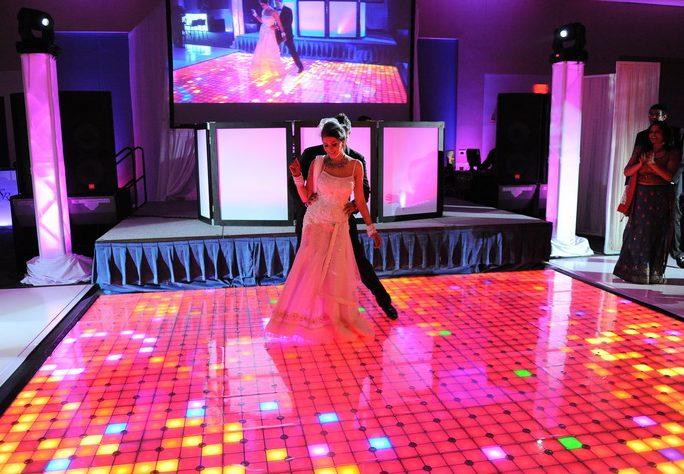 Pink unique wedding dance stage
