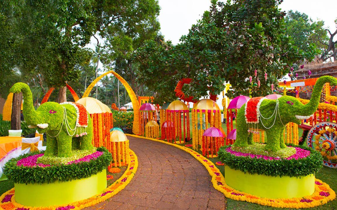 colourful botanical wedding decor